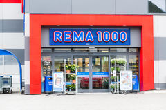 Rema 1000 Store. ANDALSNES, NORWAY - CIRCA JUNE 2016: Rema 1000 supermarket in Andalsnes, Norway. Rema 1000 is part of Reitan Group, retail and real estate with Royalty Free Stock Image