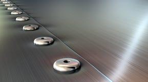 Remaches en perspectiva aplicada con brocha del metal Foto de archivo