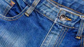 Remaches metálicos de Topview de tejanos Imagen de archivo libre de regalías