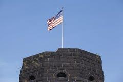 Remagen - The Remagen Bridge with flag of Allies Stock Image