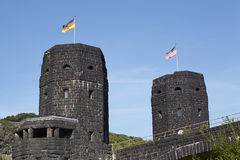 Remagen - The Remagen Bridge with flags of Allies and Germany Stock Images