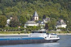 Remagen - Rzeczny Rhine z statkiem Zdjęcie Royalty Free