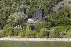 Remagen - Towers of The Remagen Bridge at the opposite riverbank Stock Photos