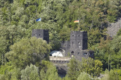 Remagen - Towers of The Remagen Bridge at the opposite riverbank Royalty Free Stock Photography
