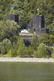 Remagen - Towers of The Remagen Bridge at the opposite riverbank Royalty Free Stock Photo