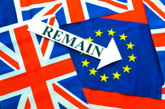 Remain in EU. Referndum concept with flags and topical message Stock Photo