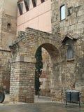 Remain of a roman aqueduct. Remain of an aqueduct, roman gate, Barcelona, Spain Stock Photos