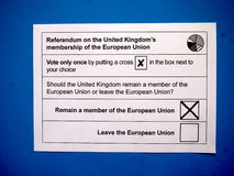 Remain vote on EU referendum paper. A cross to remain member of the European Union on the referendum ballot paper Stock Images