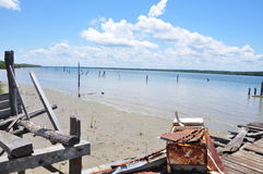 The remain of the Wallace Bay Jetty Royalty Free Stock Photos
