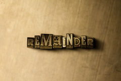 REMAINDER - close-up of grungy vintage typeset word on metal backdrop. Royalty free stock - 3D rendered stock image.  Can be used for online banner ads and Royalty Free Stock Photography