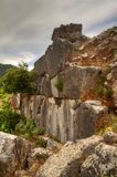 Remainders of a wall of a Hellenistic city. Remainders of a wall of the ancient town of Sami on the Greek island Cephalonia Royalty Free Stock Image