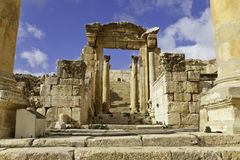 Remaining cathedral. View of remaining cathedral at ancient jerash, jordan Stock Image
