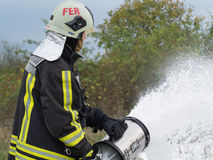 The remaining foam fluid evacuation. Szeged, Algyo, Hungary - October 8, 2015 Royalty Free Stock Photography