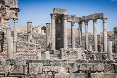 Remaining of the roman City of Dougga with the Capitol, Tunisia Royalty Free Stock Photo