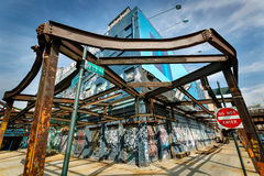 Remaining structure of a meat processing plant, Me. Urban photo taken in April 2004 at the corner of 13th Street and 10th avenue, Meatpacking district, Manhattan Royalty Free Stock Photo