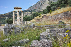 Remainings of Athena Pronaia Sanctuary in Ancient Greek archaeological site of Delphi, Greece Stock Images
