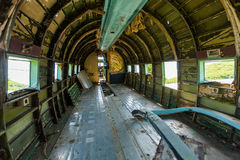 Remains of an abandoned Dakota DC3. Aircraft from World War II on an airfield near Otocac, Croatia Stock Image