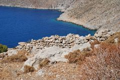 Gera village, Tilos. The remains of the abandoned village of Gera on the Greek island of Tilos royalty free stock photos