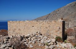 Gera village remains, Tilos. The remains of the abandoned village of Gera on the Greek island of Tilos stock photography