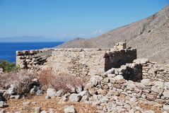 Ruined Gera village remains, Tilos. The remains of the abandoned village of Gera on the Greek island of Tilos royalty free stock photo