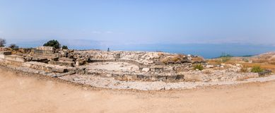 The remains of the amphitheater in the ruins of the Greek - Roman city of the 3rd century BC - the 8th century AD Hippus - Susita. On the Golan Heights near the stock photo