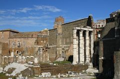 Remains of ancient architecture in Rome Royalty Free Stock Photo