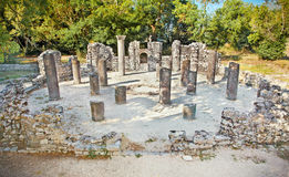 Remains of the ancient Baptistery at Butrint, Albania. royalty free stock photo