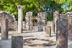 Remains of the ancient Baptistery at Butrint, Albania. stock photography