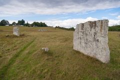 Ancient burial ground in Ekornavallen. Falköping district. Sweden. Europe. Remains of ancient burial grounds, older then famous Stonehenge in England stock images