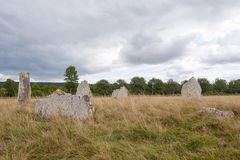 Ancient burial ground in Ekornavallen. Falköping district. Sweden. Europe. Remains of ancient burial grounds, older then famous Stonehenge in England royalty free stock photo