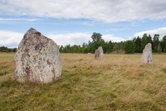 Ancient burial ground in Ekornavallen. Falköping district. Sweden. Europe. Remains of ancient burial grounds, older then famous Stonehenge in England stock photos
