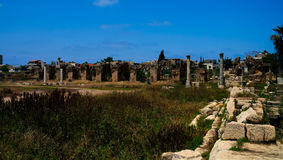Remains of ancient columns at Al Mina excavation site,Tyre, Lebanon Royalty Free Stock Photography