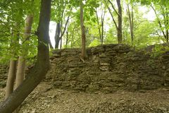 Remains of the ancient defensive wall of the city of Pskov royalty free stock photo