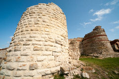 Remains of an ancient fortress wall in Nessebar Stock Images