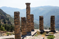 Remains of the ancient Greek temple at Delphi Royalty Free Stock Photo