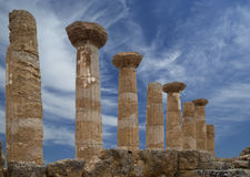 Remains of an ancient Greek temple of Heracles (V-VI century BC), Valley of the Temples, Agrigento, Sicily Stock Images