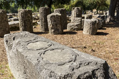 Remains at ancient Olympia archaeological site in Greece Royalty Free Stock Images