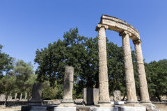 Remains at ancient Olympia archaeological site in Greece Stock Photos