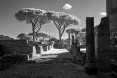 Remains of Ancient Ostia town built on both the sea and the Tiber river near Rome, Italy royalty free stock image