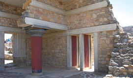 Remains of ancient palace at archaeological site of Knossos, Crete Island, Greece stock image