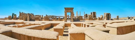 Remains of ancient Persia. The largest ancient palace complex in middle East with preserved stone ruins, occupying the plateau at the mountains` foot, Persepolis Royalty Free Stock Images