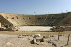 Remains of the Ancient Roman theater in Caesarea, Royalty Free Stock Images