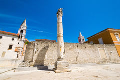 The remains of the ancient Romans in Zadar. Pillar of torture in Zadar. Royalty Free Stock Images