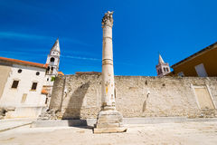 The remains of the ancient Romans in Zadar. Pillar of torture in Zadar. Royalty Free Stock Photography