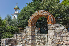 Remains of from Ancient Sozopol and the church of St. George Stock Images