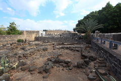 Remains of Ancient Village of Capernaum Stock Photography