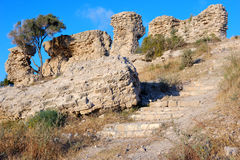 Remains of ancient walls Stock Images