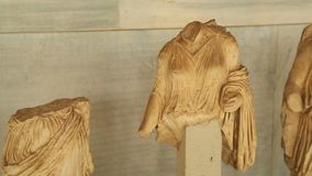 Remains of antique marble female statues found during archaeological excavations. Stock footage stock video