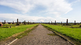 Remains of the Auschwitz concentration camp in Poland. A long road which used to be lined by numerous buildings where the prisoners would live. We can still see Stock Photos