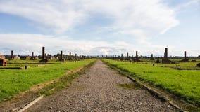 Remains av den Auschwitz koncentrationslägret i Polen Arkivfoton